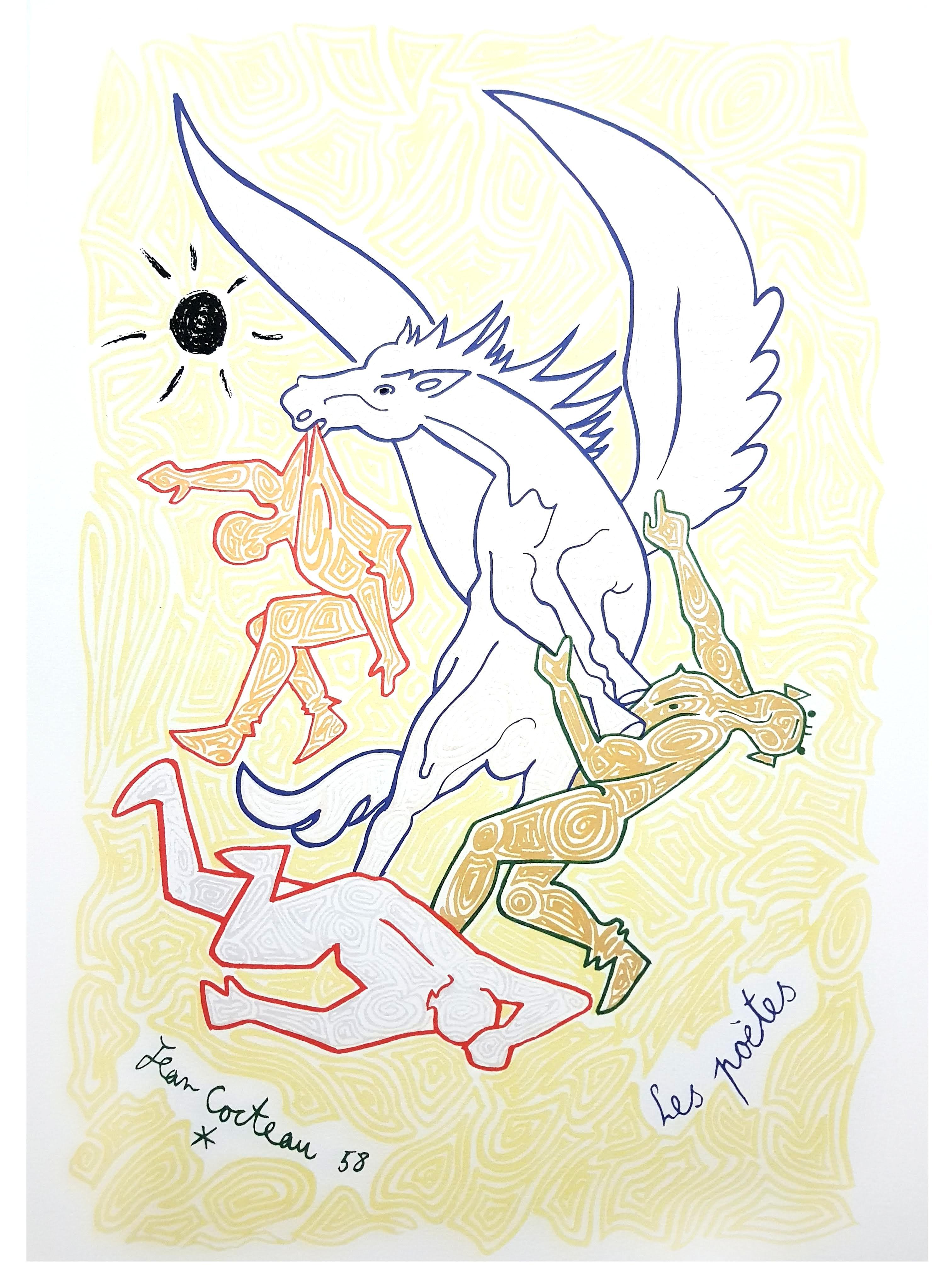 Jean Cocteau - Poets - Original Lithograph