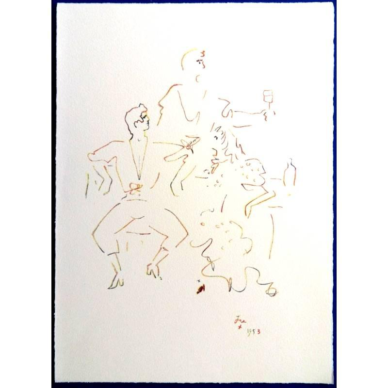 Jean Cocteau (after) -  Spanish Party - Lithograph