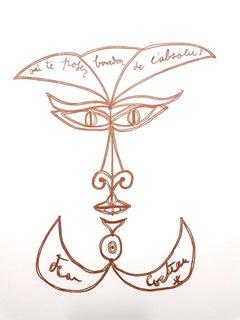 Jean Cocteau - Surrealist Smile - Original Lithograph