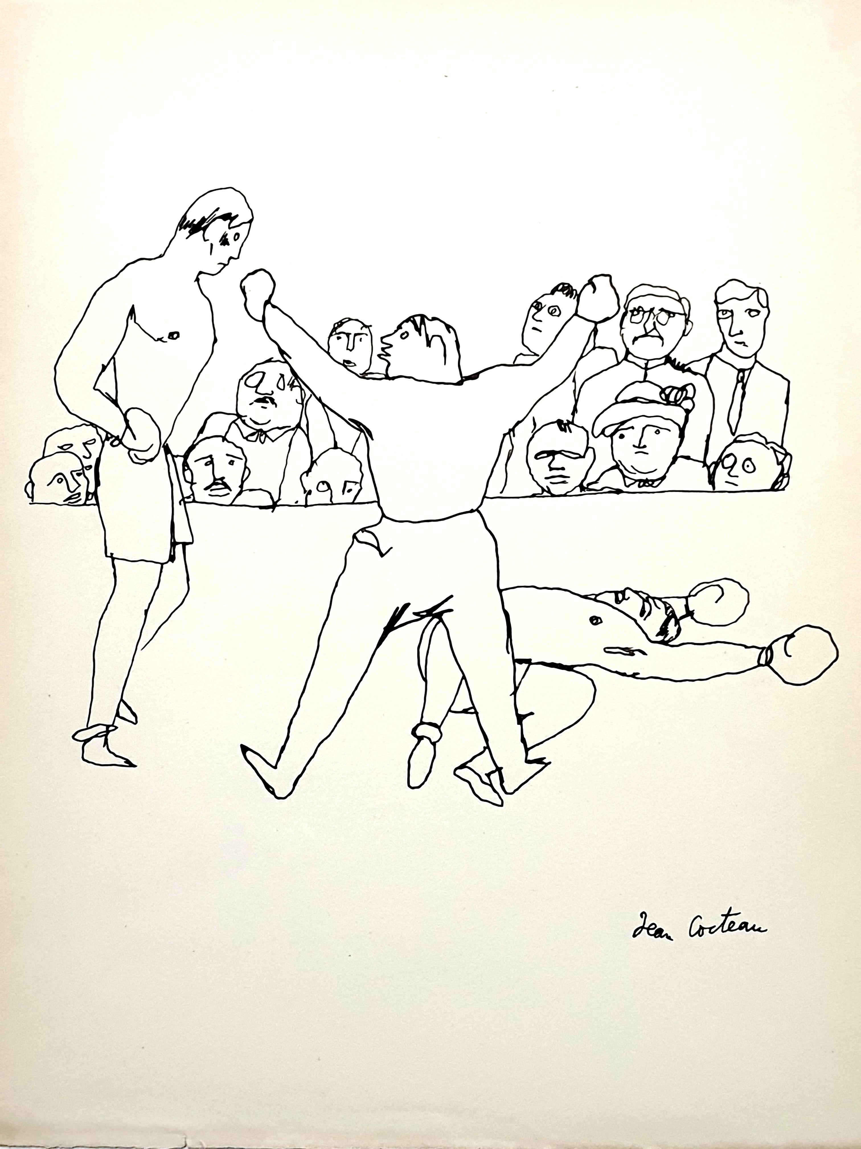 Jean Cocteau - The Fight - Original Signed Drawing