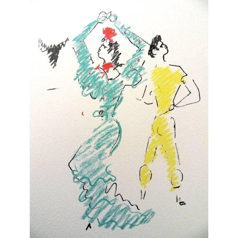Jean Cocteau -  The Flamenco Dancer - Original Lithograph For Sale 1