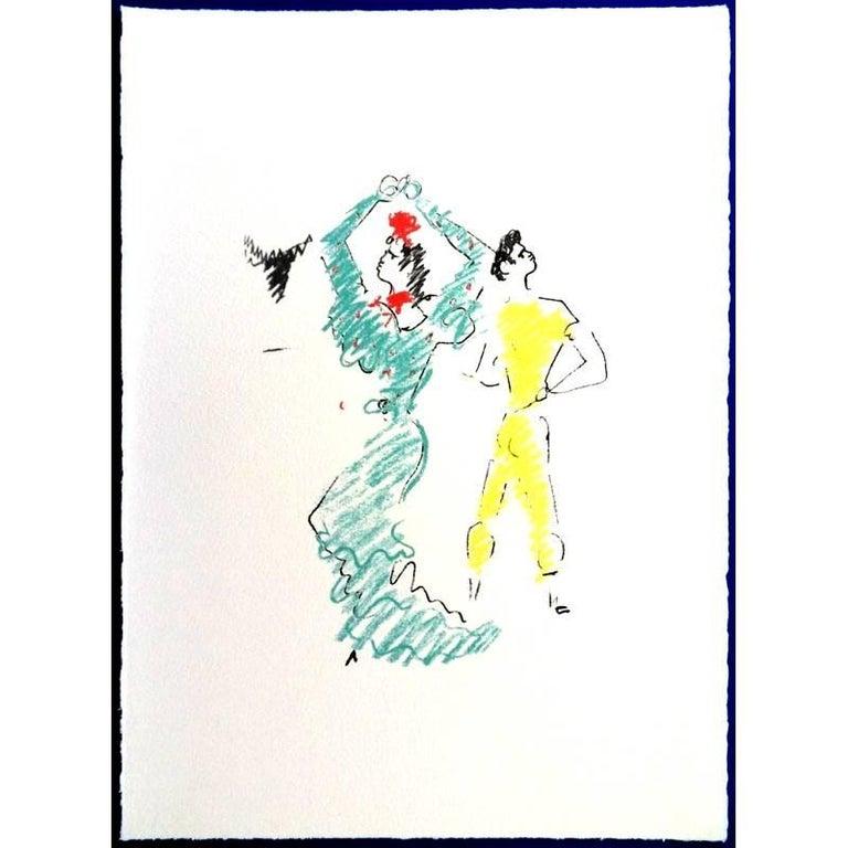 """Original Lithograph by Jean Cocteau Title: The Flamenco Dancer 1961 Dimensions: 38 x 28 cm Lithograph made for the portfolio """"Gitans et Corridas"""" published by Société de Diffusion Artistique  Jean Cocteau  Writer, artist and film director Jean"""