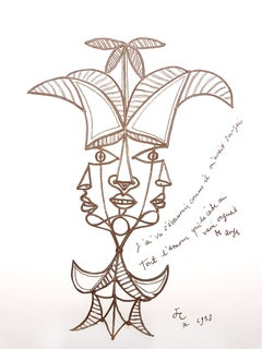 Jean Cocteau - Three Persons or One - Original Lithograph