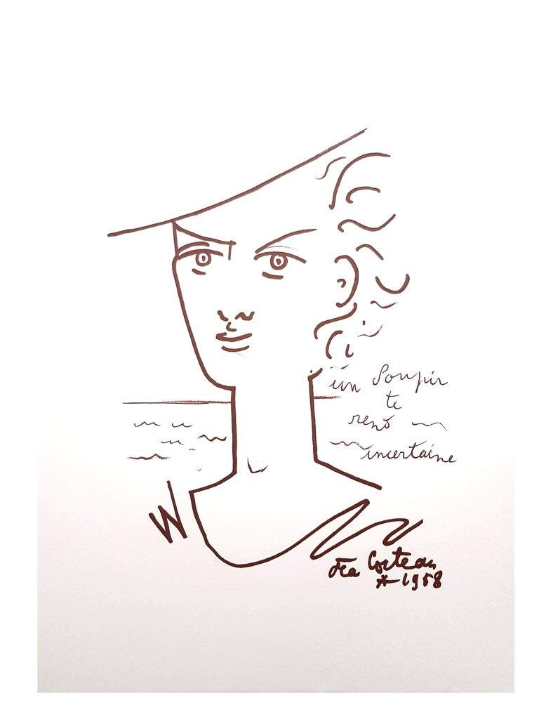 Jean Cocteau - Woman Portrait - Original Lithograph For Sale 5