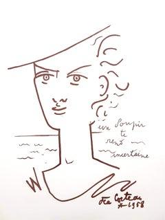 Jean Cocteau - Woman Portrait - Original Lithograph