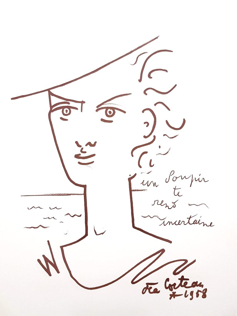 Original Lithograph by Jean Cocteau Title: Woman Portrait  Signed in the plate Dimensions: 38 x 28 cm Edition: 200 1958  Jean Cocteau  Writer, artist and film director Jean Cocteau was one of the most influential creative figures in the Parisian