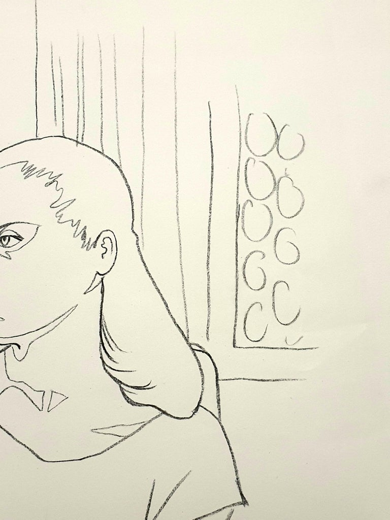 Jean Cocteau - Young Girl - Original Lithograph For Sale 1