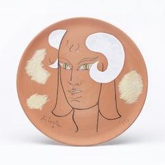 """original ceramic dish  """" faune séducteur aux cornes blanches """""""" the seductive """""""