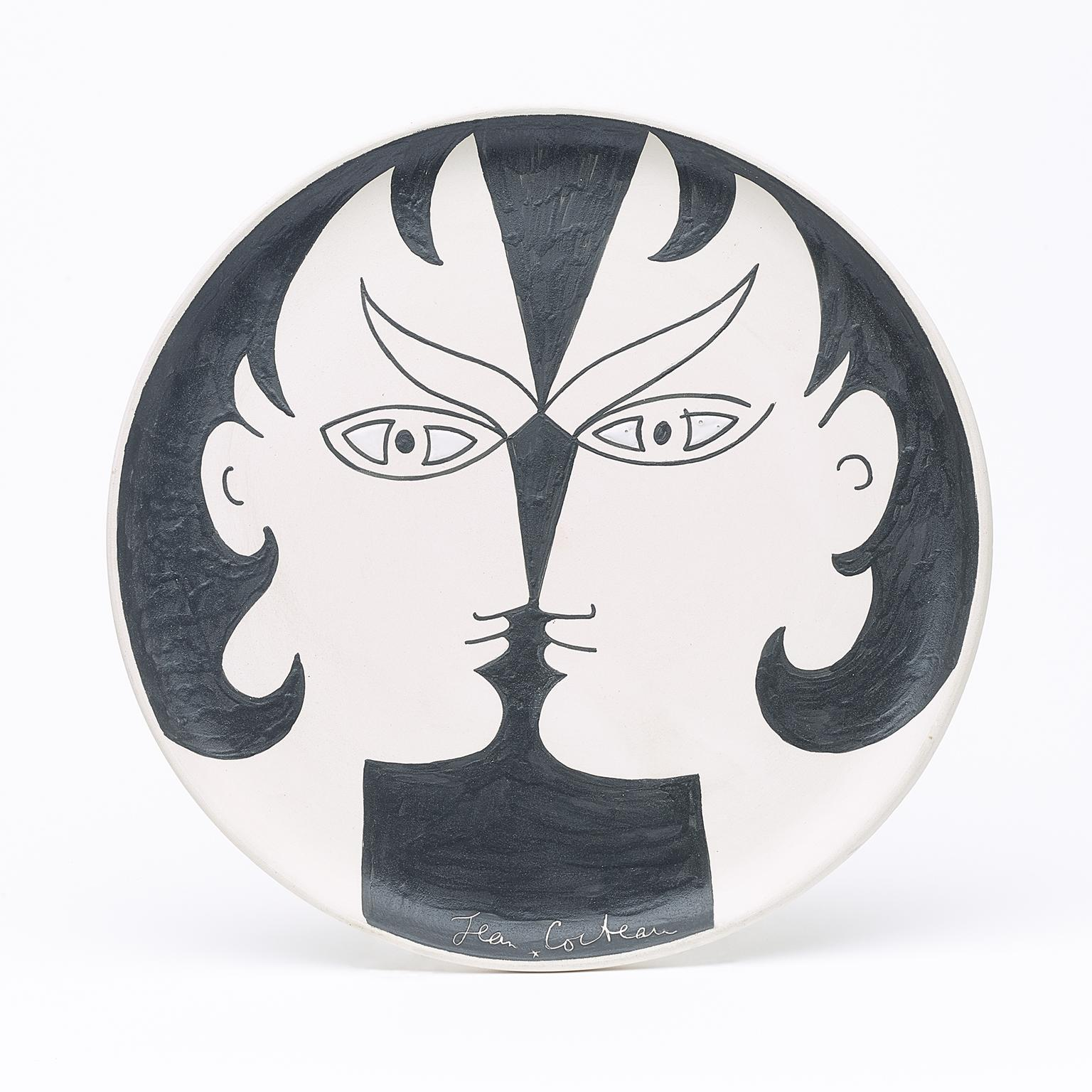 "original ceramic dish "" les dioscures "" . certified ."