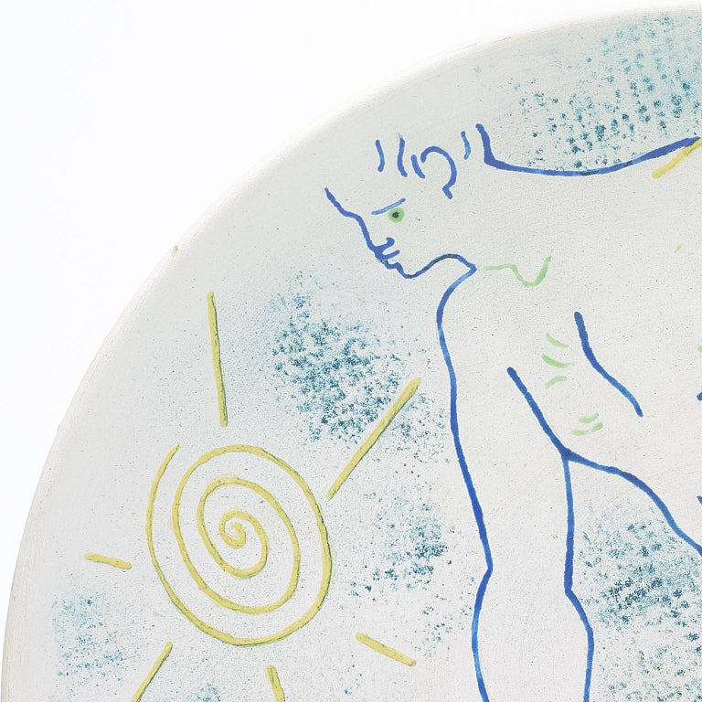 Signed and dated Jean Cocteau 1958 . marked edition originale de Jean Cocteau . Atelier Madeline -Jolly (Underneath ). partially glazed white earthenware plate conceived in 1958 in an edition of 15.  literature : Annie Guédras . Jean Cocteau