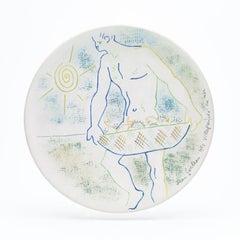 "original ceramic dish "" pêcheur d'oursins"" . ""  sex sea  fisherman """