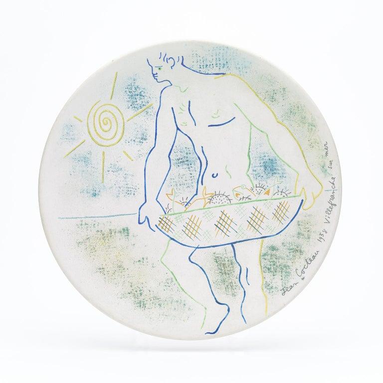 "original ceramic dish "" pêcheur d'oursins"" . ""  sex sea  fisherman ""  - Print by Jean Cocteau"