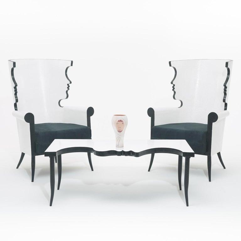 Femme voilée, is a ceramic vase signed Jean Cocteau on the base, marked édition originale de Jean Cocteau Atelier Madeline - Jolly  Exemplaire d' auteur (artist proof) Partially glazed terracotta vase, black, white and blue enamels Conceived in 1958