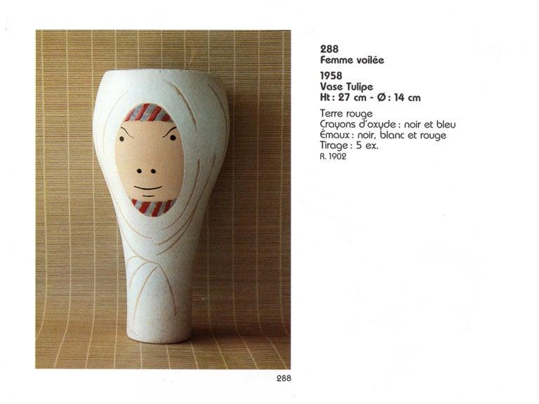 Ceramic Vase, Femme Voilée, Jean Cocteau For Sale 5