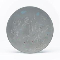 """original edition ceramic dish """" Danses Antiques """".  signed  & certified ."""