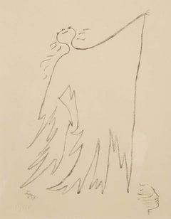 Sous le manteau du feu - man with coat modern lithograph by Jean Cocteau