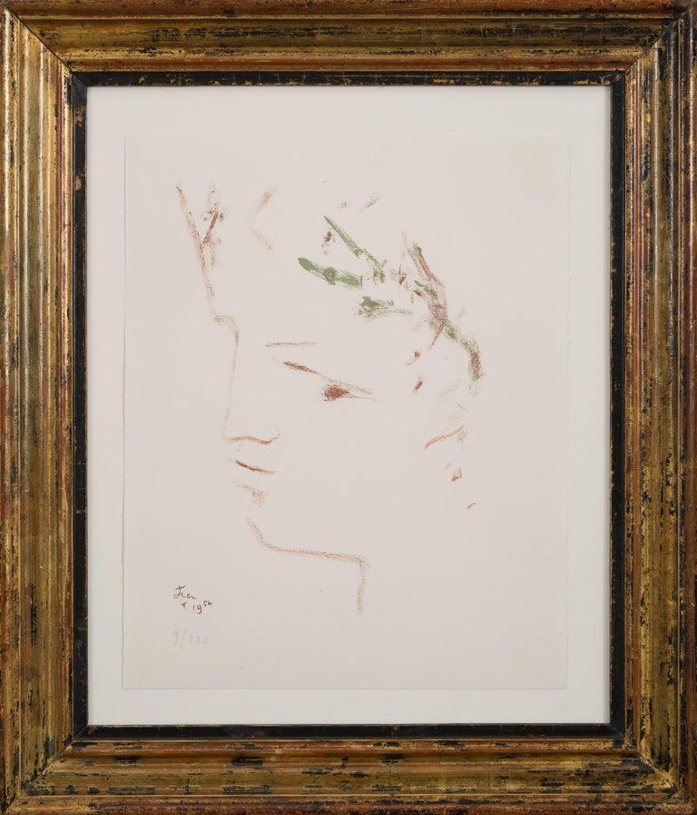 Sous le manteau du feu - original modern lithograph portrait by Jean Cocteau  For Sale 1