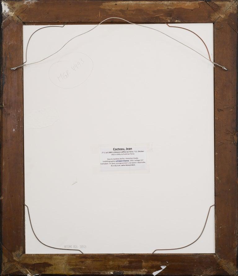 Sous le manteau du feu - original modern lithograph portrait by Jean Cocteau  For Sale 3