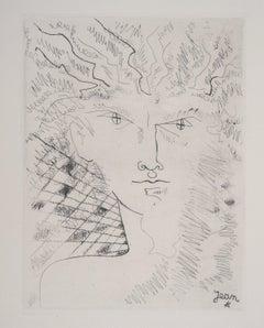 Surrealist Portrait - Original Etching, 1946
