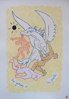 The Poets with Pegasus - Lithograph