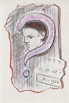 Young Boy - Original Lithograph by Jean Cocteau - 1956
