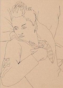 Young Boy - Original Photolithograph by Jean Cocteau - 1930s