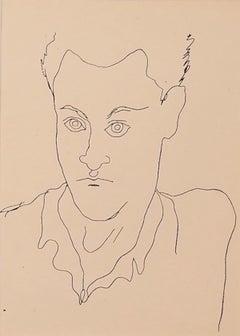 Young Boy - Vintage Photolithograph by Jean Cocteau - 1930s