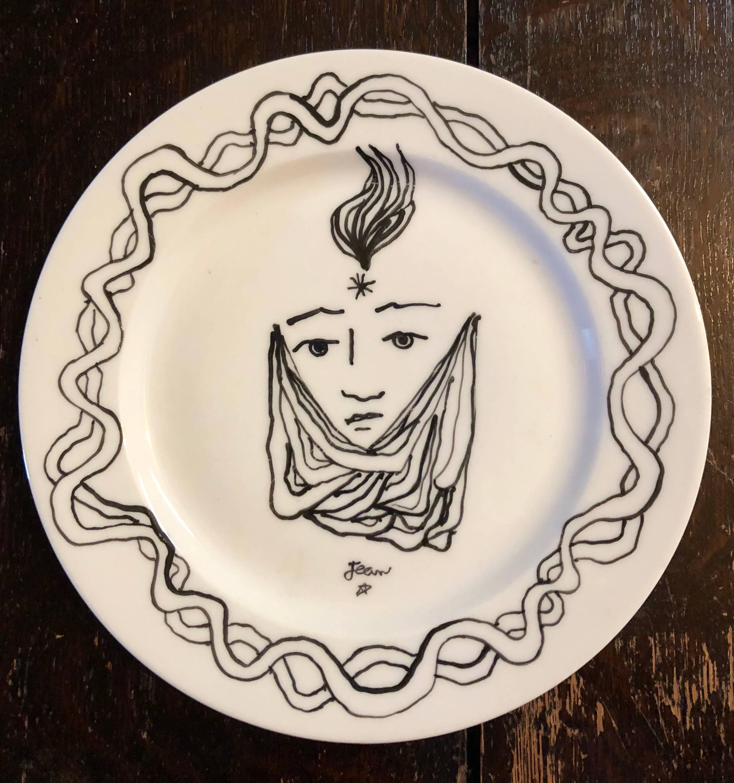 Christofle Porcelain Plate With Cocteau Art Deco Design Drawing