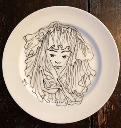 Porcelain Plate With Cocteau Art Deco Surrealist Design Drawing Christofle