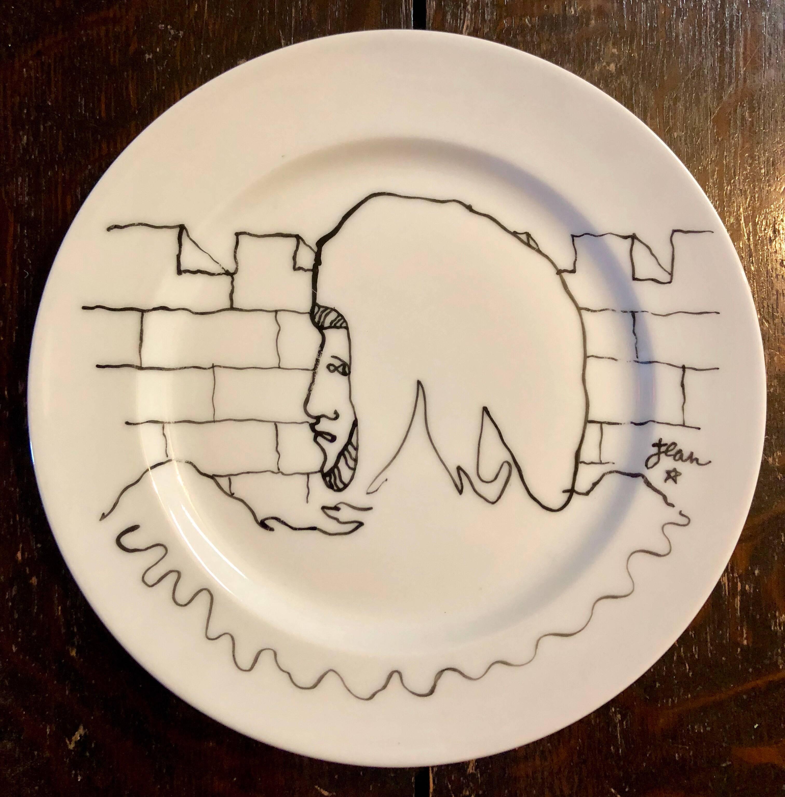 Porcelain Plate With Cocteau Art Deco Surrealist Design Drawing Christofle