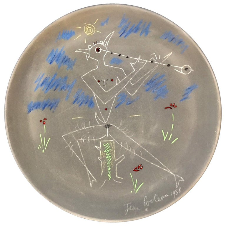 Jean Cocteau Terracotta Pottery Dish, Faune Musicien 'Face', Signed and Dated For Sale