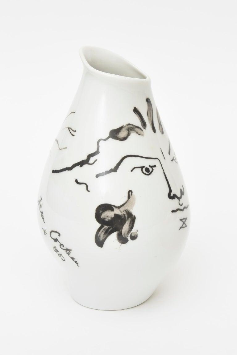Organic Modern Jean Cocteau for Rosenthal Tetes Face Porcelain Hand Painted Vase Vessel For Sale