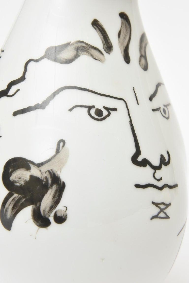 German Jean Cocteau for Rosenthal Tetes Face Porcelain Hand Painted Vase Vessel For Sale
