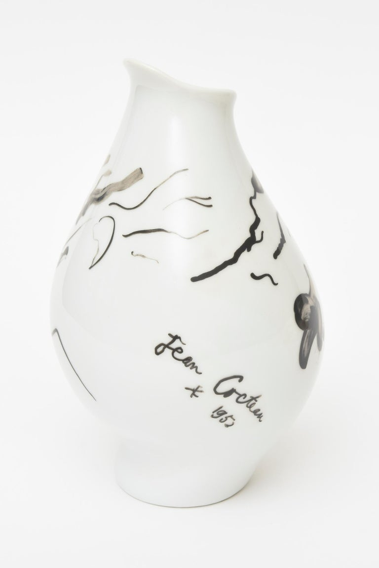 Glazed Jean Cocteau for Rosenthal Tetes Face Porcelain Hand Painted Vase Vessel For Sale