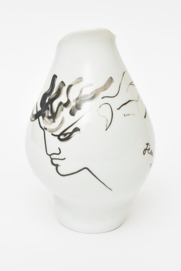 Jean Cocteau for Rosenthal Tetes Face Porcelain Hand Painted Vase Vessel For Sale 1