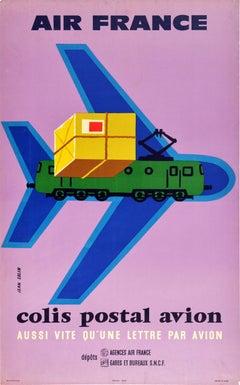 Original Vintage Poster Air France Colis Postal Avion Airmail Plane Train Design
