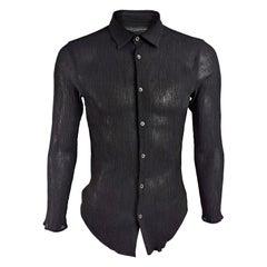 Jean Colonna Vintage Mens Long Sleeve Plissé Shirt, 1990s