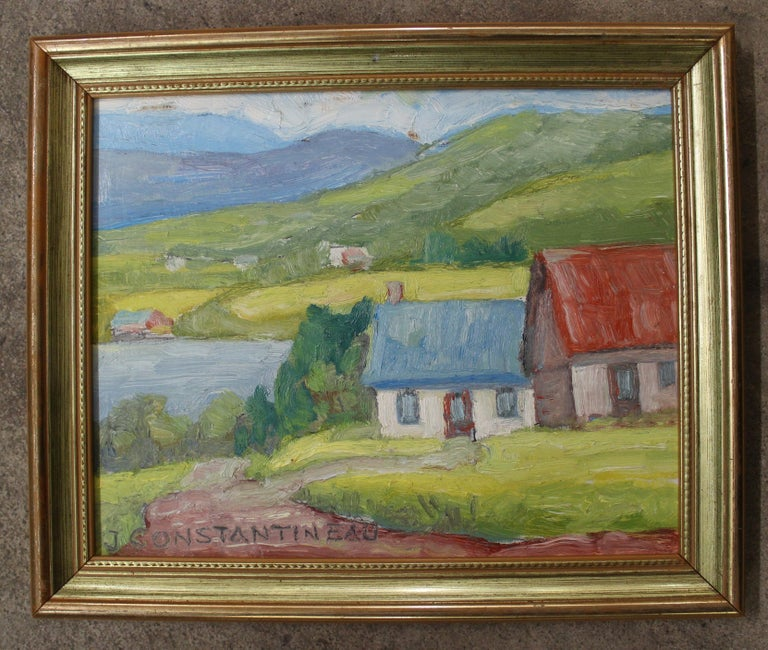 Jean Constantineau (Canadian 1928-2009) Title: 'Les Eboulements'  Medium: Oil on board  Size with frame 11.75