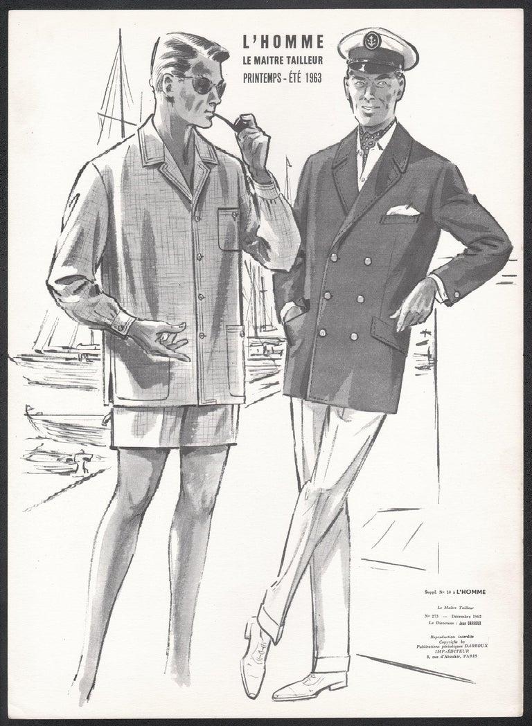 French Mid-Century 1960s Men's Fashion Design Vintage Sailing Lithograph Print - Gray Figurative Print by Jean Darroux