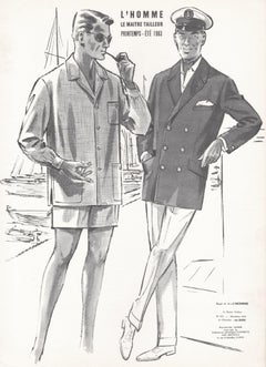 French Mid-Century 1960s Men's Fashion Design Vintage Sailing Lithograph Print