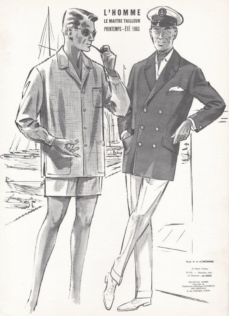 Jean Darroux  Figurative Print - French Mid-Century 1960s Men's Fashion Design Vintage Sailing Lithograph Print
