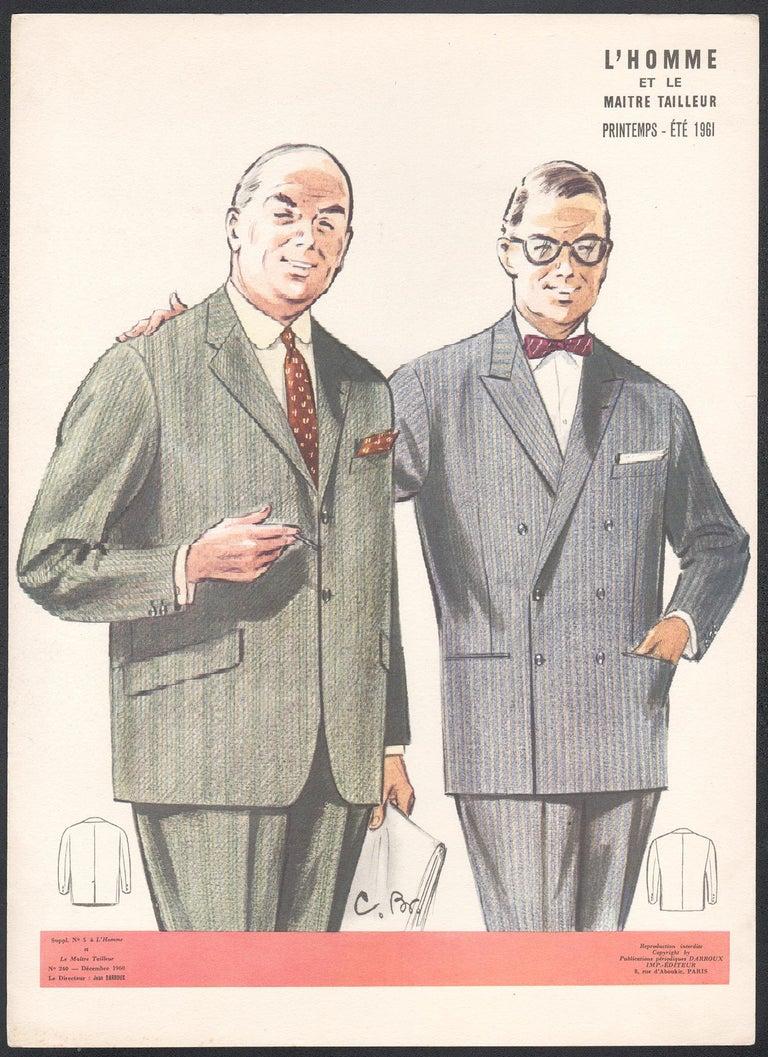 French Mid-Century 1960s Mens Fashion Design Vintage Suit Lithograph Print - Beige Figurative Print by Jean Darroux