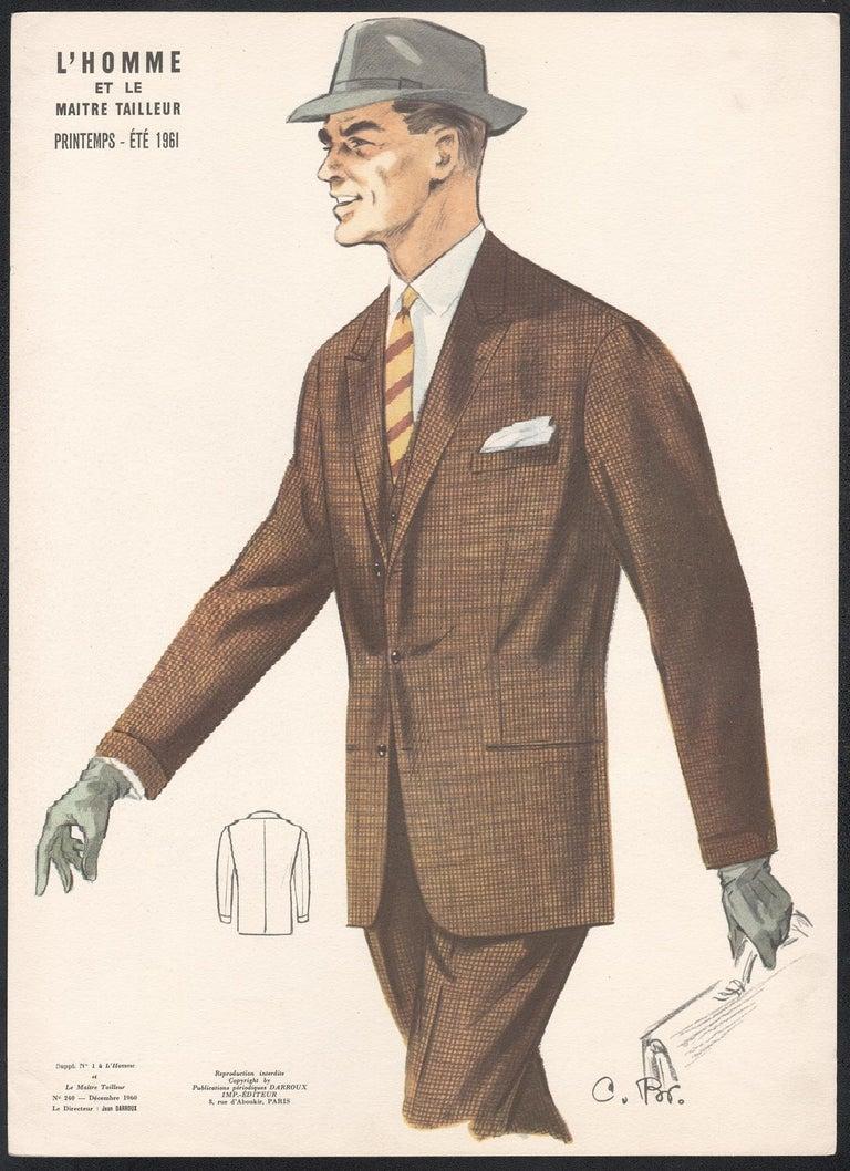 French Mid-Century 1960s Mens Fashion Design Vintage Suit Lithograph Print - White Figurative Print by Jean Darroux