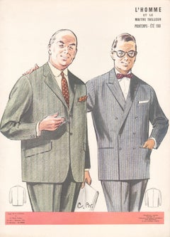 French Mid-Century 1960s Mens Fashion Design Vintage Suit Lithograph Print