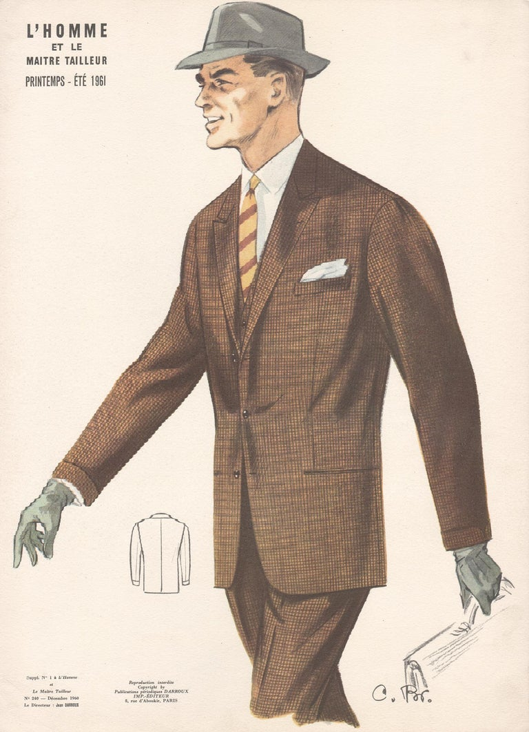 Jean Darroux  Figurative Print - French Mid-Century 1960s Mens Fashion Design Vintage Suit Lithograph Print