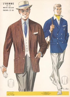 Jean Darroux French Mid Century 1960s Mens Fashion Design Vintage Suit Lithograph Print For Sale At 1stdibs