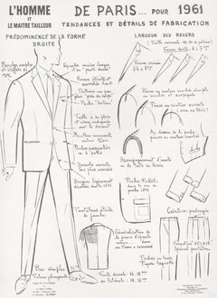 French Mid-Century 1960s Men's Fashion Design Vintage Suit Lithograph Print