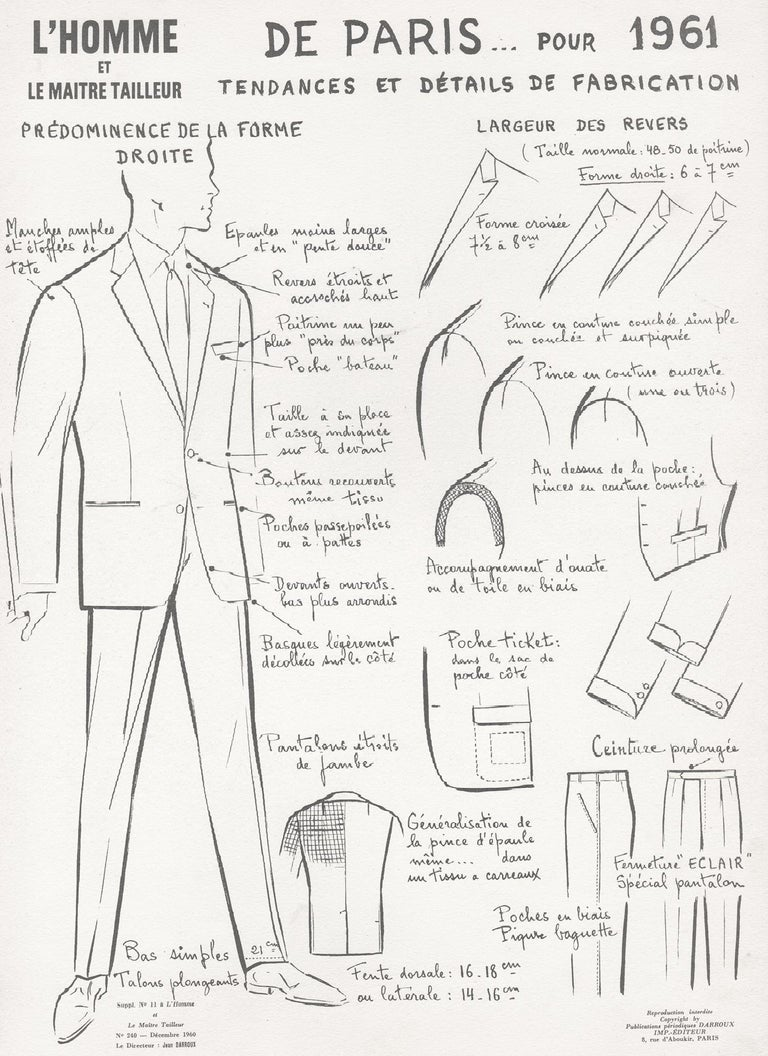 Jean Darroux  Figurative Print - French Mid-Century 1960s Men's Fashion Design Vintage Suit Lithograph Print