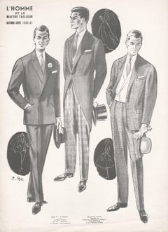 French Mid-Century 1960s Men's Fashion Design Vintage Wedding Lithograph Print