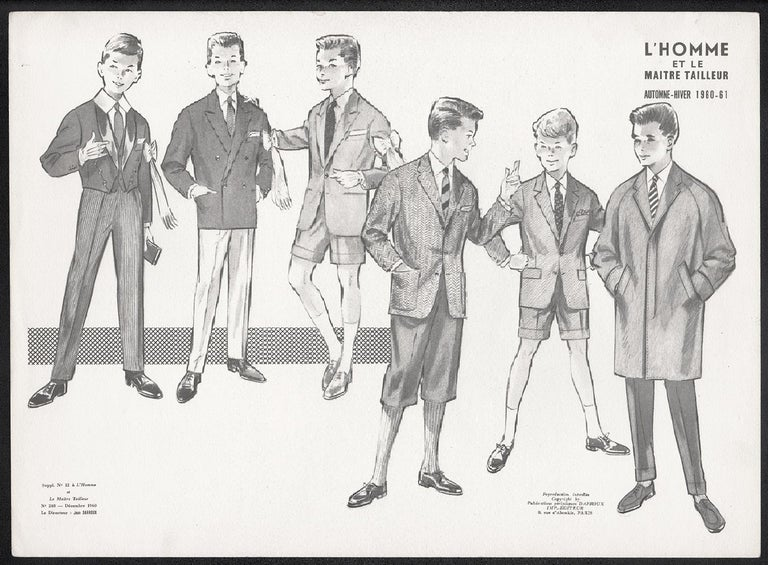 French Mid-Century 1960s Schoolboys Fashion Design Vintage Suit Lithograph Print - Gray Figurative Print by Jean Darroux